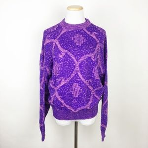 VTG 80s Fairy Kei Purple Pink Acrylic Knit Sweater